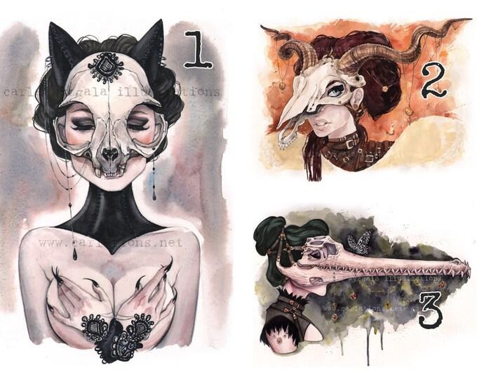 SIGNED set of 8 Carlations Skull Masquerade watercolor glossy art print set by Carla Wyzgala Carlations