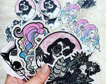 STICKER SET! Spooky Burlesque pin-up cat skull die-cut sticker art Carlations Carla Wyzgala