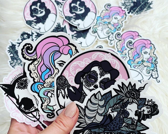 STICKER SET! Spooky Burlesque pin-up cat skull die-cut sticker art Carlations Carla Wyzgala