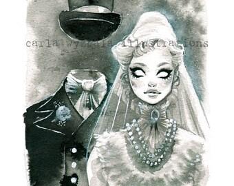 Constance Ghost Bride Disneyland Wedding Spooky Victorian Haunted Mansion Halloween watercolor Giclee Art Print Carla Wyzgala carlations