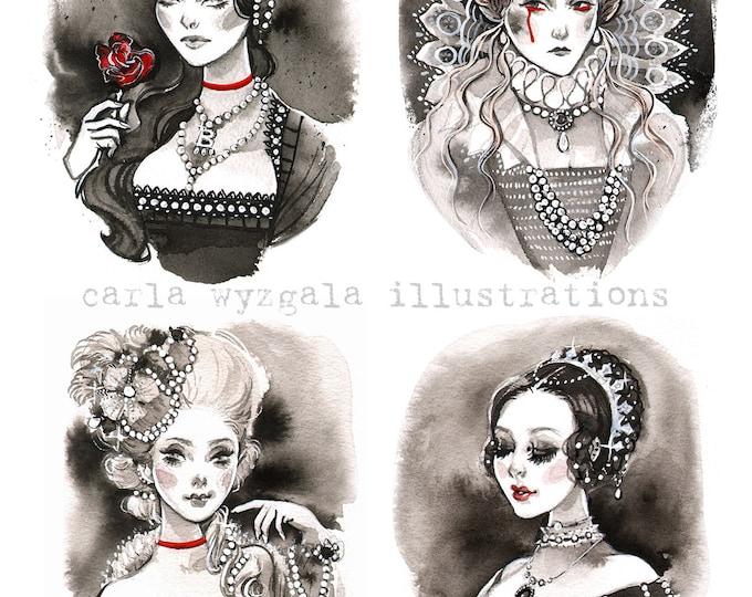 Dead Queens Victoria Anne Boleyn Elizabeth Marie Antoinette Ink Painting Giclee Art Print Carla Wyzgala carlations
