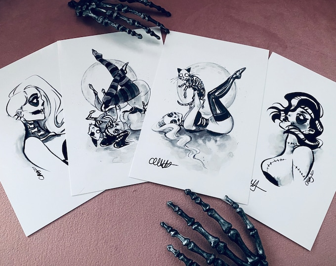 Skelly & Zombettie INKTOBER 2020 HAND SIGNED Spooky Burlesque pin-up print set by Carlations Carla Wyzgala