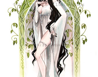 Arwen Lord of the Rings Elven Fantasy Pin Up inspired watercolor Giclee Art print Carla Wyzgala carlations
