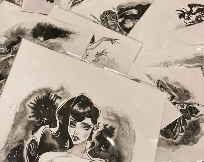 Mystery Original Inktober Drawing by Carlations Carla Wyzgala