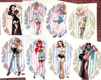 Boudoir Disney Princess SIGNED collection of 23 watercolor art prints Carlations Carla Wyzgala