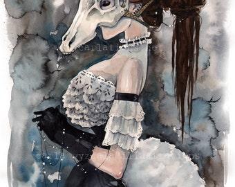 Unicorn Skull Mask Victorian Masquerade watercolor art print Carla Wyzgala carlations