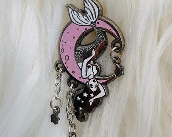 Enamel Pin Up Moon Mermaid Pin from Carlations Spooky Burlesque Enamel Pin series