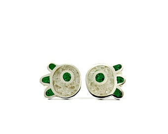Modern Ear Studs, Flower Earrings, Sterling Silver, Green and White, Contemporary Jewelry