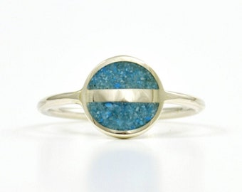 Turquoise Sterling Silver Ring, Space Ring, Minimal Ring, Saturn, Modern, Contemporary