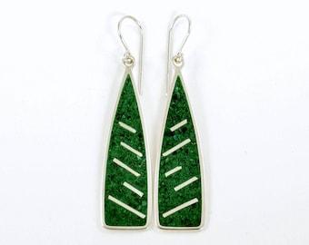 Sterling Silver Earrings, Malachite Inlay, GREEN RAIN, Minimal, Modern, Contemporary