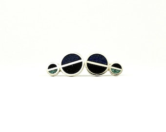 Sterling Silver Earrings, Cold, Divided Circles, Geometric, Ear Studs, Modern, Contemporary, Minimal