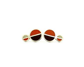 Sterling Silver Studs, Chocolate Orange Color, Geometric Circles, Modern Ear Studs