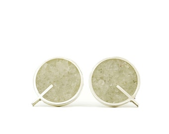 Sterling Silver Earrings, Q Earrings, White, Modern, Contemporary, Minimal