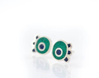 Modern Ear Studs, Flower Earrings, Sterling Silver, Green and Blue, Contemporary Jewelry