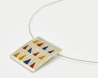 Sterling Silver Necklace - Pendant - Primary Colors Triangles - OOAK - Blue Yellow Red White