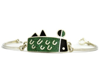 Sterling Silver  Bracelet, Geometric, Modern, Contemporary, Black, Green, Color, OOAK