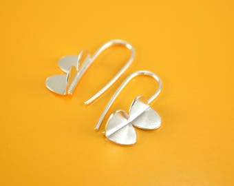 Sterling Silver Earrings, Small Bug Wings, Modern, Contemporary, Minimal