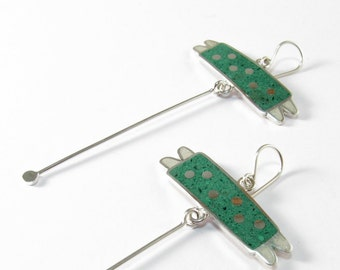 Sterling Silver Earrings, Green and White, Bugs, Funny, Modern, Contemporary Jewelry