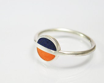 Sterling Silver Ring, Minimal Ring, Blue and Orange Modern Ring, Saturn, Contemporary