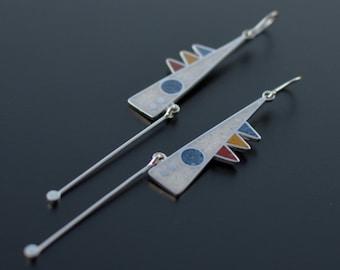Sterling Silver Earrings, Modern Jewelry, Geometric Earrings, Contemporary Design, Tribal, Dangle, Pendulum