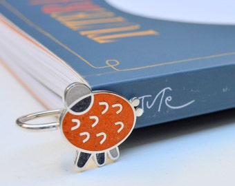 Sterling Silver Bookmark, Funny, Colorful, Modern, Contemporay, Orange, OOAK