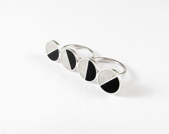 Statement Ring, Sterling Silver, Double Ring, Black, White, Divided Circles, Contemporary, Modern, Minimal