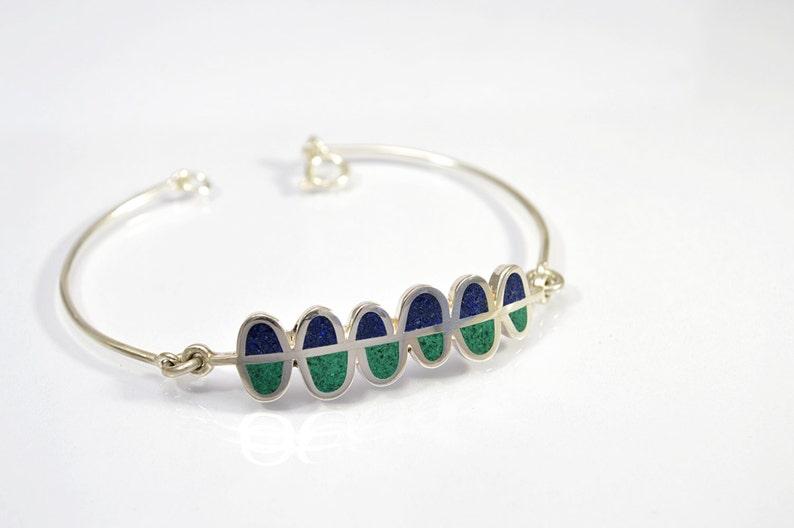 Contemporary Jewelry Blue and Green Ferns Sterling Silver Bracelet Modern Bracelet