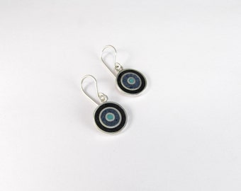 Sterling Silver Earrings, Cold Colors, Black, Turquoise, Blue, Concentric, Circles, Modern, Contemporary