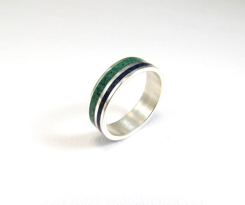 Lines Modern Minimal Unisex Contemporary Color Wedding  Band Sterling Silver Ring Green Blue
