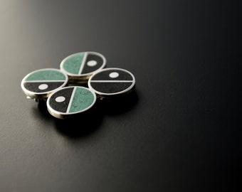 Sterling Silver Brooch, Modern, Contemporary, Mid Century, Green, Black, FLAVIA: Brothers Series, OOAK