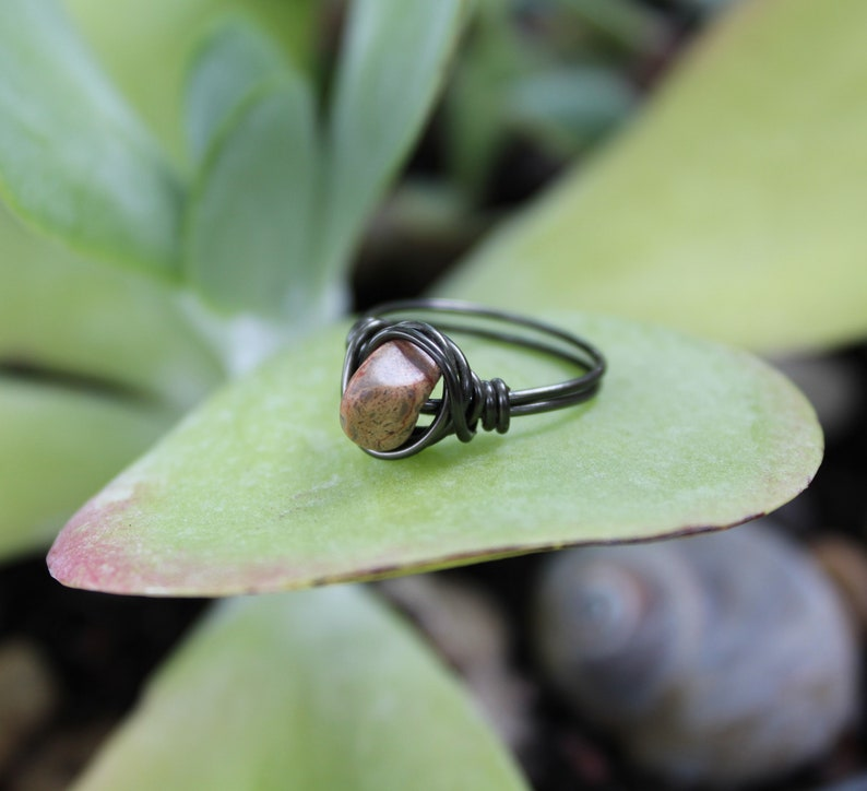 Wire Wrapped Rustic Jewelry Unique Raw Stone Ring Earth Tone Jewelry Gunmetal Gray Ring Size 7 Boho OOAK I love Grasshoppers