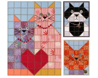 Love Cats Paper Quilt Picture & Cards Pattern PC101