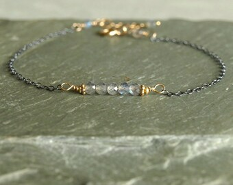 Labradorite Bracelet with oxidized sterling silver chain and 14K gold filled, a blue flashing small gemstone bar, minimalist jewelry