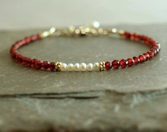 Garnet Pearl Bracelet, small natural red garnets, freshwater pearls, gold beads, January birthstone, genuine gems, real garnet pearl jewelry