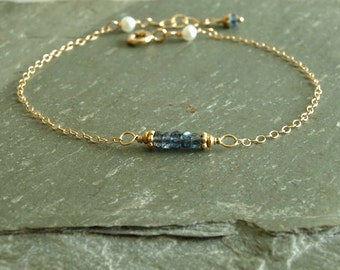 Small Sapphire Bracelet, natural pearls, real gemstones, small beads, blue sapphires, September birthday, gold chain, pearl sapphire jewelry