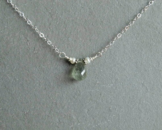 Ombre Shaded Necklace Moss Aquamarine Necklace Gift for Her. Sterling Silver Necklace March Birthstone Gemstone Necklace