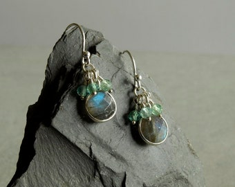 Labradorite Apatite Earrings, blue green bead clusters in sterling silver, natural gemstone jewelry