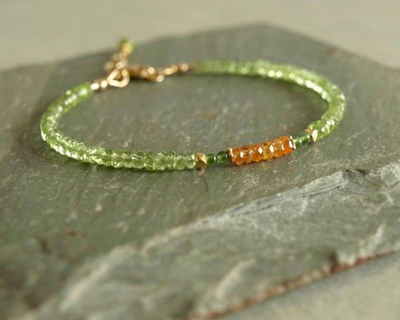 Gemstone Bracelet Green Peridot Bead Bracetet Sterling Silver Lock 8 INCH Beaded Bracelet Natural GREEN PERIDOT Faceted Roundel Bracelet