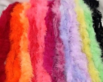 Marabou Feather Boas in a variety of colors, red, lilac, black with iridescent, mauve, magenta, lemon and  orange, everyone needs boas!!
