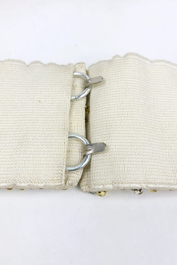 Vintage 1950s Deadstock Gold Beaded Belt, 50s Hoo… - image 7