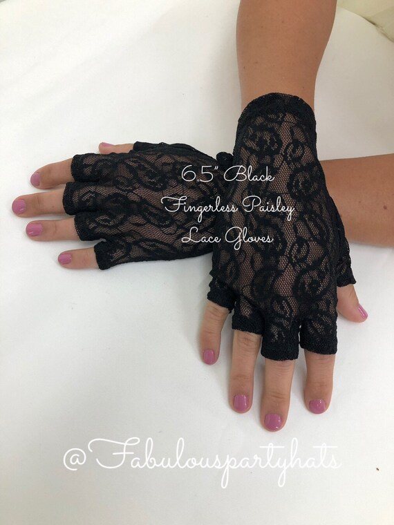 "Black Lace Gloves,6.5"" Fingerless Paisley Lace Glo"