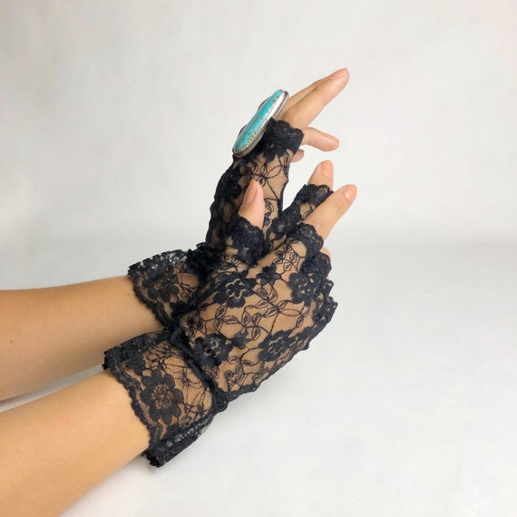 Vintage 1980s Deadstock Floral Lace Fingerless Glo