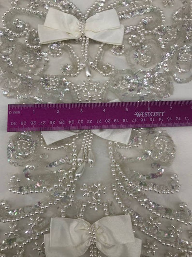 Comes In Black /& Ivory Iridescent Pearls Beaded Bodice Applique W 3 Satin Bows Sequins Can Be Added To a Dress Costume or Lingerie.