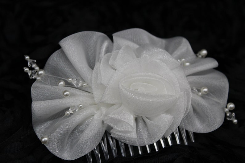 Wedding Hair Comb,Three Dimensional W Shimmering Iridescent Organza Ruffle Rose Bow Adorned W Pearl Beads /& Translucent Beads!