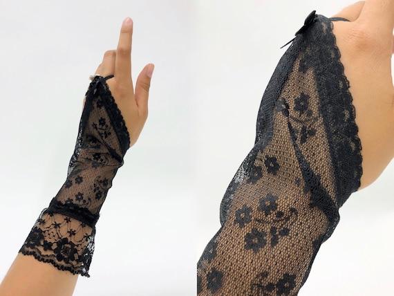 Vintage 1980s Black Deadstock Fingerless Lace Glov