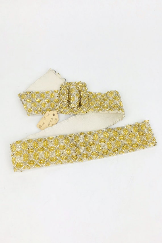 Vintage 1950s Deadstock Gold Beaded Belt, 50s Hoo… - image 2