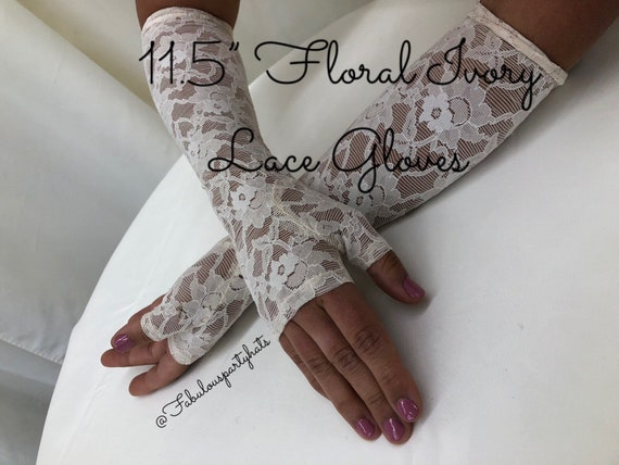 "Lace Gloves, Ivory Lace Fingerless Gloves,11.5"" Iv"