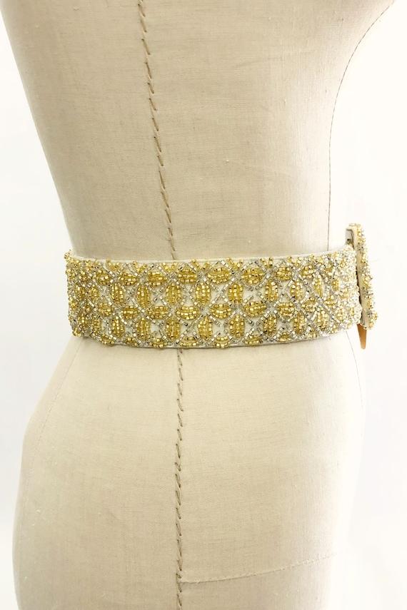 Vintage 1950s Deadstock Gold Beaded Belt, 50s Hoo… - image 10