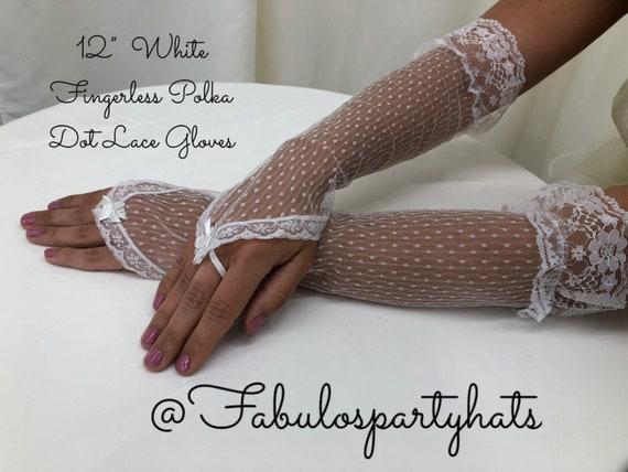 """Lace Gloves,White Lace Fingerless Gloves ,12"""" Polk"""
