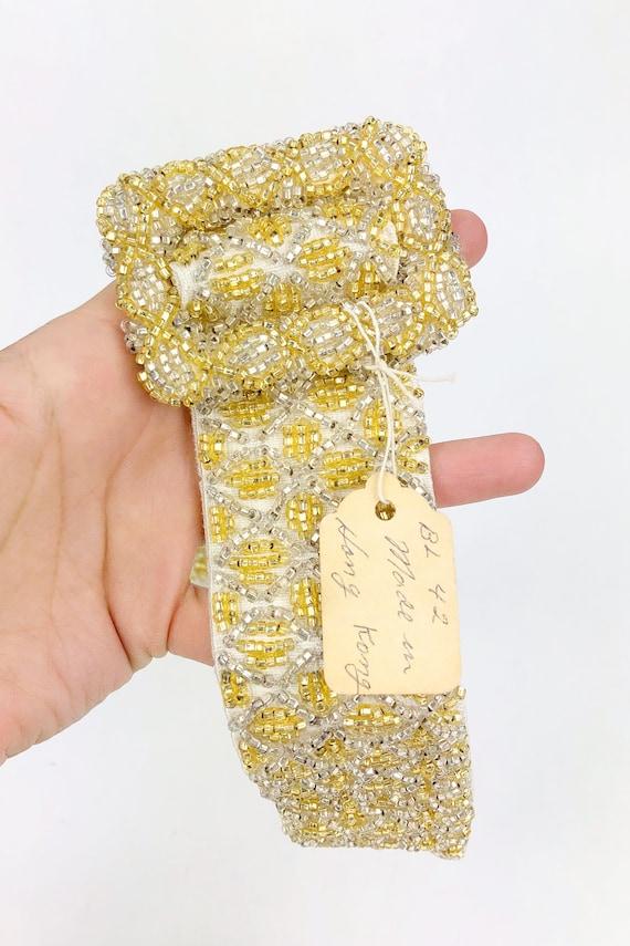 Vintage 1950s Deadstock Gold Beaded Belt, 50s Hoo… - image 4